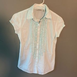 Aeropostale Button Down Shirt Teal White Stripes